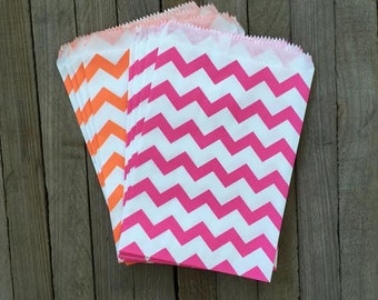 48 Orange and Hot Pink Chevron Treat Sacks- Favor Bags- Birthday Party Supply- Wedding or Baby Shower- Gift Bag