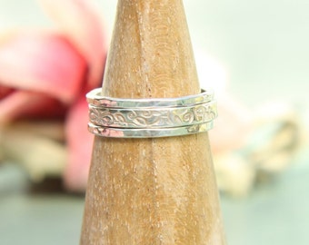 Stacking Ring 3 Set  - Floral & Hammered finish