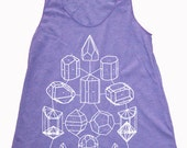 Women's CRYSTAL MATH  Screen Printed Tank Top Crystal Power Sacred Geometry Racerback Shirt