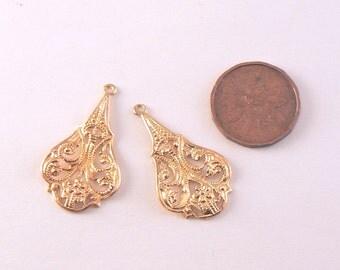 """10 PCS - 1 1/8"""" Metal Filigree Gold Finish Earring Drops- Metal Stampings"""