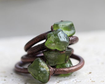 Peridot Ring Electroformed Ring Leo Birthstone Copper Ring Peridot Green Gemstone August Stone Delicate Ring