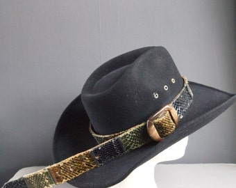 Vintage leather hatband - vintage hatband - snakeskin belt - leather belt - jungle chic - patchwork belt - glam rock - rocker - animal print