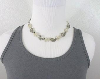Vintage Coro Necklace Earrings Gray Ivory Enamel Choker Demi Parure 17.5 Inch Silver Link Matching Jewelry Set Vintage Coro Jewerly