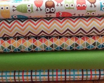 Quilting Sewing Fabric Bundle - 5 Coordinating Fabrics - Urban Zoologie - Rainbow Remix -  Robert Kaufman Fabrics - Owls - Children Baby