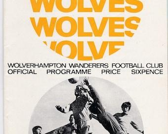 Vintage Football (soccer) Programme - Wolverhampton Wanderers v Leicester City, 1967/68 season