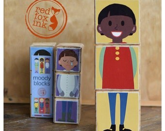 Moody Blocks - handmade wooden block emotions puzzle - teach and learn about feelings
