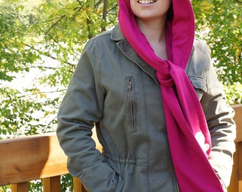 Funky Hood with scarf, Hoodie, Scoodie, Pink Cat, Cute Kitty, Fabric, Gift, Autumn, Winter, Kids, Teens, Handmade by Les Funky