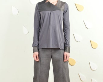 Art 101/1617 -30% OFF Top Azzeruolo. Sartorial, Made in Italy, Handmade, Atelier, Winter, Everyday, Fabric neckline, Unusual.