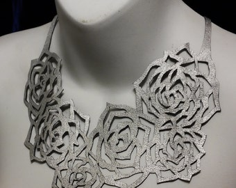 Roses Re-purposed Leather Necklace