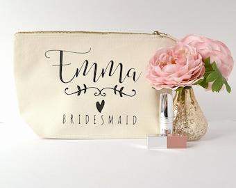 Modern Calligraphy Ivory Personalised Bridesmaid Gift Makeup Bag