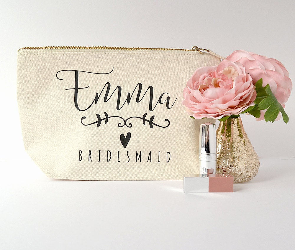 Modern calligraphy ivory personalised bridesmaid gift makeup