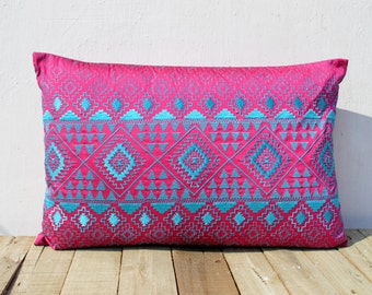 KIlim pattern embroidered pillow, hot pink and turquoise, Polytafetta pillow cover, size 14X21 inch throw pillow