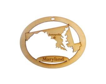 Maryland Ornament - Maryland Gift - Maryland Personalized Gift -  Maryland Decor - Maryland State Ornament - Maryland Souvenir