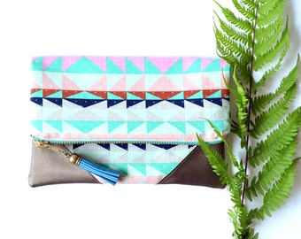 Aztec Clutch Bag, Blue Fold Over Purse, Metallic Leather Clutch Wallet, Blue Bridesmaid Clutch, Fabric Zipper Organizer, Tribal Clutch Purse