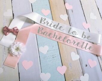 Bachelorette Sash Bow Flower Custom Glitter