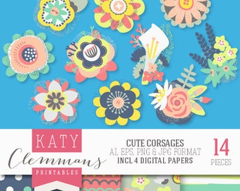 CUTE CORSAGES digital clip art with digital paper pack. Printable prom corsage illustrations, patterns, scrapbook art - instant download.