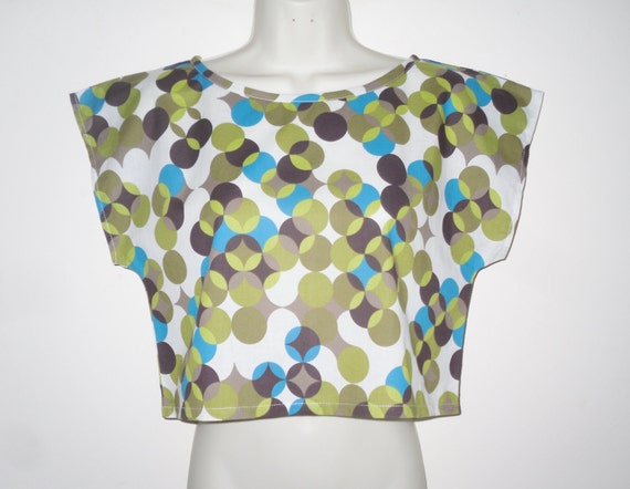 Cotton Lawn 80's Style Crop Top Retro Circles Summer Size Small Olive Greens Turquoise Light Brown White Mix