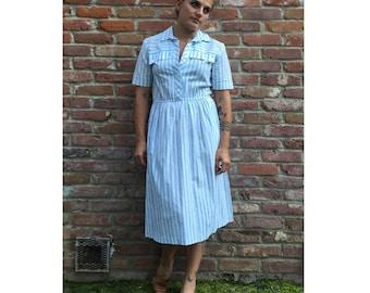 50% off sale! Vintage Midi Dress - Short Sleeve Dress - Collared Dress - Summer Dress - Festival Dress - Candystriper Dress - 60s - 70s