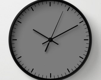 Grey wall clock classic design black and white minimalist decor contemporary essential lines signs hours home decor graphic clock