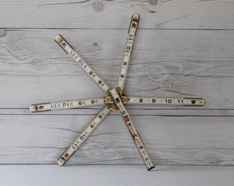 "Vintage Lufkin Red End 1066D 6 Ft. Rugged Engineers Wood Folding Ruler, Vintage 72"" Engineers Ruler, Vintage White Folding Ruler"