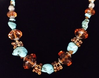 Turquoise and Amber, Turquoise Necklace, Amber Color Beads, Jewelry, Custom Jewelry, Genuine Turquoise, Gift for Her, SALE