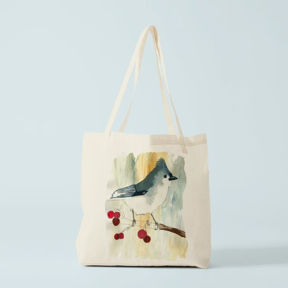 Tote bag Bird and Cherries, canvas bag, groceries bag, school bag, yoga bag, sports bag, baby bag, cotton bag, gym bag, baby bag.