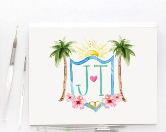 Whimsical Custom Watercolor Wedding Crest Personalized For You