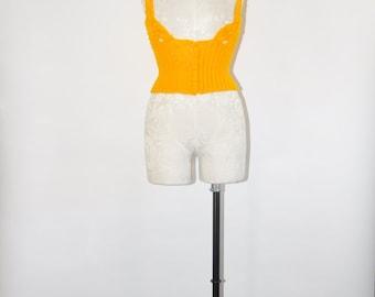 60s marigold yellow vest / 1960s cropped wool vest / vintage chunky crochet vest