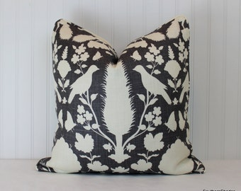 One or Both Sides - ONE High End Schumacher Chenonceau Charcoal Pillow Cover with Self Cording