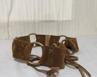 Brown suede leather belt,Boho belt ,fringed belt
