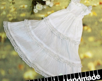 BJD sd 1/3 MSD 1/4 white sleeveless cotton gathered pleated dress