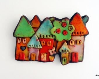 Polymer clay brooch