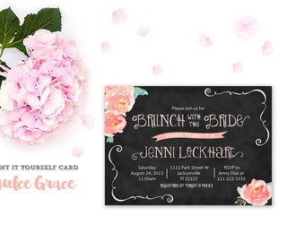 brunch and bubbly invitations, brunch with the bride invites, peach brunch invitations, coral shower invitations, shower invite download