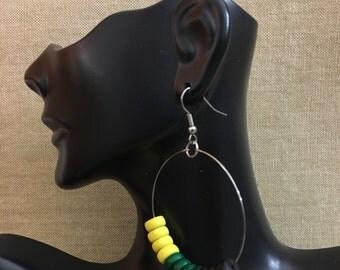 Jamaican Inspired Wooden Beaded Stainless Steel Hoop Earrings