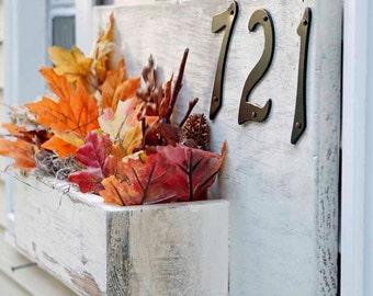 Spring Decor, Spring Planter Box, Address Planter, Address Numbers box, Rustic Front Porch Planter, House Numbers Planter, House Number Sign