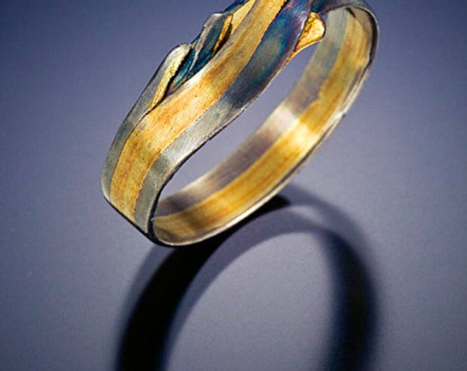 18k gold and sterling silver wedding band