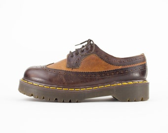 90s Vintage Dr. Martens Brogue | Docs Two Tone Brown Five Hole Shoes | Made in England | Womens Size 7 UK 5 Euro 37 - 38
