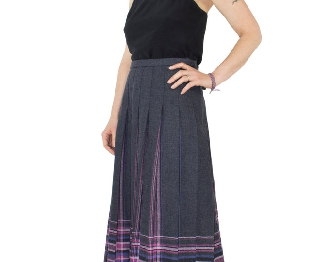 90's Vintage Pendleton High Waist Pleated Skirt | Plaid Wool A-Line Midi Skirt | Size 16 | Boho Chic | Goth Lolita