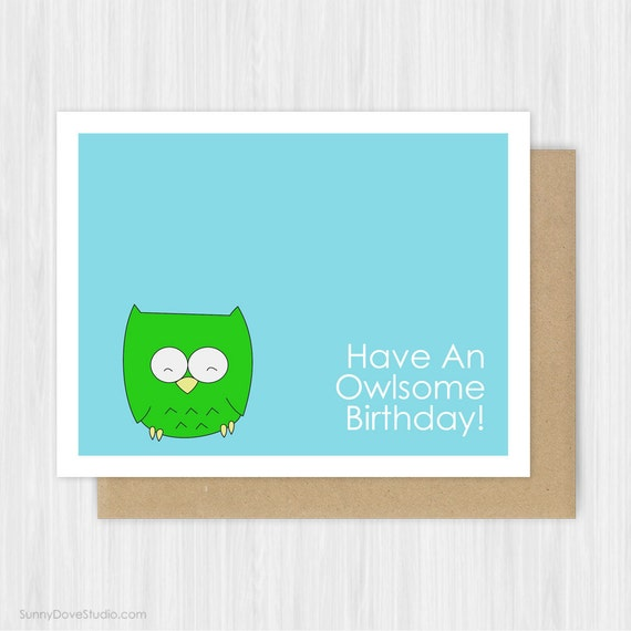 Cute Birthday Cards For Him ~ Cute owl pun birthday card for friend her him by sunnydovestudio