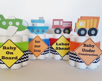 Transportation Baby Shower, Boats Train and Automobiles Table Centepieces, Baby Boy Diaper Cake, Mini Diaper Cakes, Planes Baby Shower