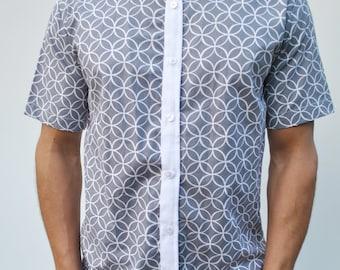 Greyscale Short Sleeve Button-Up Shirt