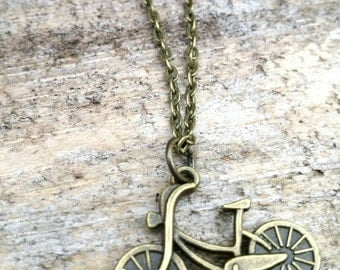 Life is a Beautiful Ride Antique Bronze Bicycle Charm Necklace