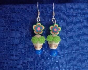 White Skull Earrings,Green Flower Earrings, Sugar Skull Earrings, Day of The Dead Earrings