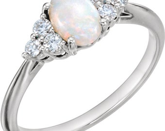 opal engagement ring mounting alternative engagement ring opal diamond ring bridal jewelry - Opal Wedding Ring