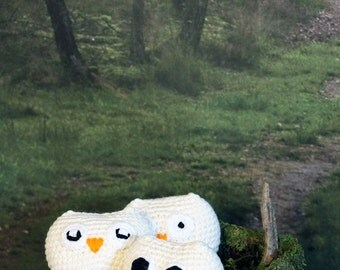 Beige Owl Stuffed Animal, Off White Crochet Amigurumi Plush Toy