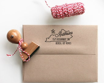 Custom Kentucky State Return Address Stamp, perfect gift for holidays, housewarming parties and weddings or as Business Card