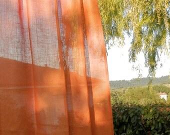 "Burnt orange Tab top  Burlap Curtain Panel 54"" x 84''-Rod pocket burlap panel -  Bedroom curtains"