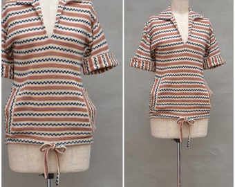 Vintage jumper, 1970s striped pullover / sweater, beige / orange tone knitted tunic with drawstring hem, front pocket detail, UK 10 / Small