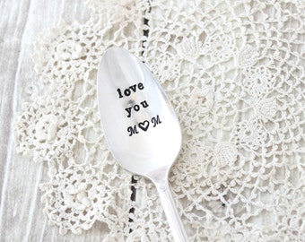 Love you Mom Spoon - Coffee Tea Stir Stick Ice Cream - Best Mom - Vintage Silver Plated Silverware - Hand Stamped - Mothers Day Gift for Her