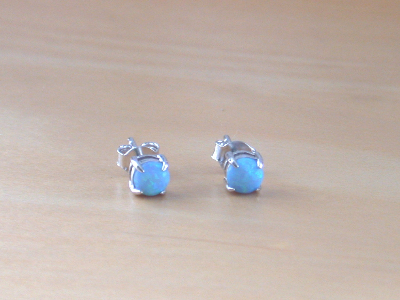 925 blue opal stud earrings opal earrings opal jewelry opal. Black Bedroom Furniture Sets. Home Design Ideas